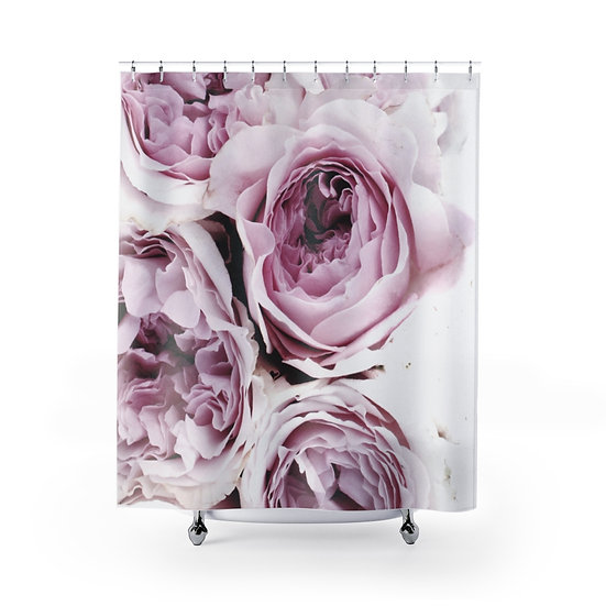 Shower Curtain, Peonies Floral illustration, Pink Peonies Shower Liner, Pink