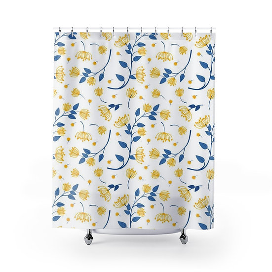 Yellow and Blue Floral Shower Curtain