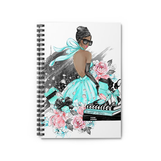 Spiral Notebook, African American Fashion Spiral Notebook, Blue Fashion Notebook