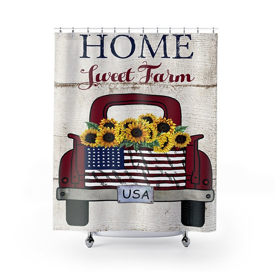 Home Sweet Home Truck Shower Curtains, Patriotic USA Fabric Liner