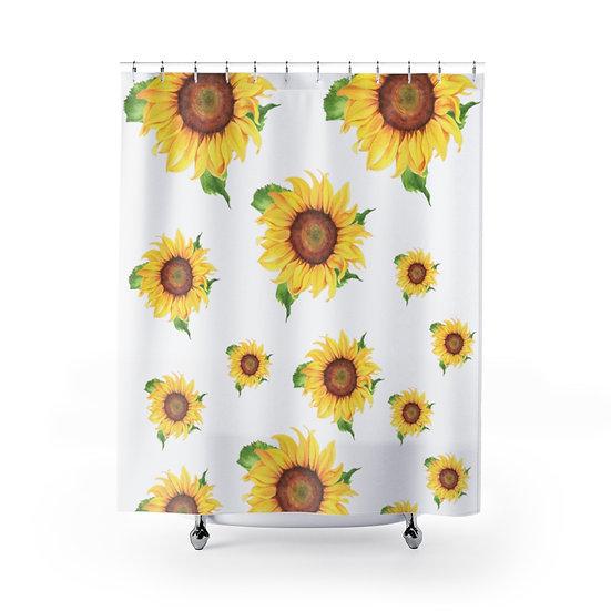 Sunflower Designer Curtain, Shower Curtain Liner, Bathroom Shower