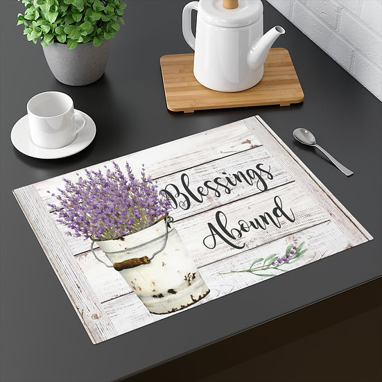 Farmhouse Placemat, Blessings Lavender, 18 in x 14 in Table Placemats