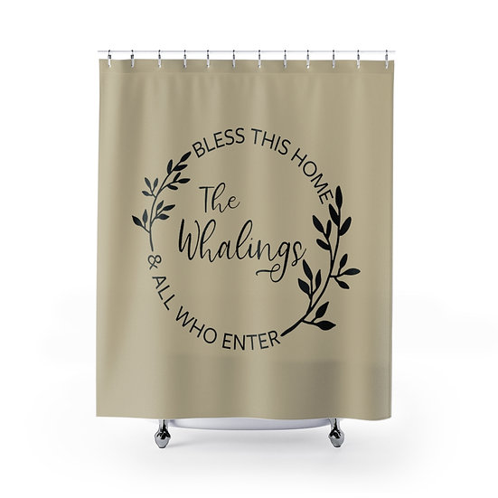 Personalized Shower Curtain, Custom Bath Liner, Bless this Home Shower Curtain