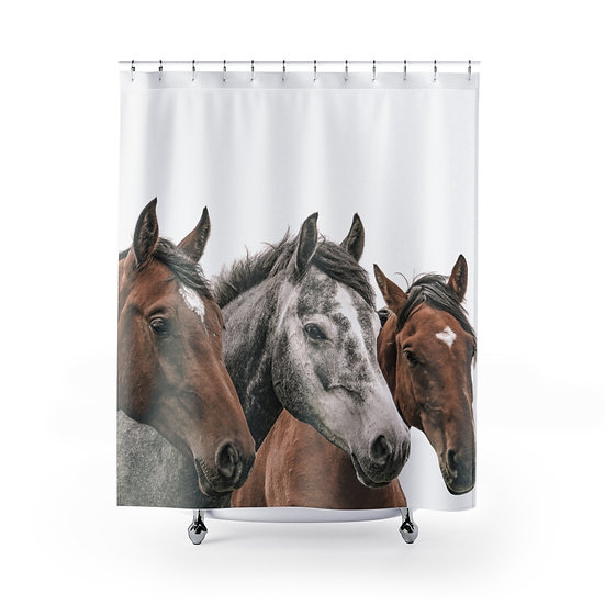 Wild Horses Shower Curtains, Horse Fabric Liner, Farmhouse Shower Curtain