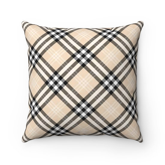 Black and Tan Gingham Plaid Throw Pillow