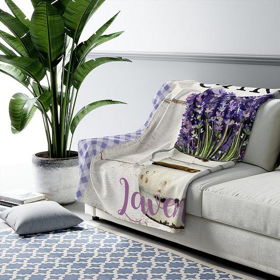 Blanket, Lavender Sherpa Fleece Blanket, Lavender Country Blanket