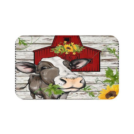 Bath Mat, Watercolor Cow Barn Bath Mat, Cute Cow Non Slip Bathroom Rug, Bathroom