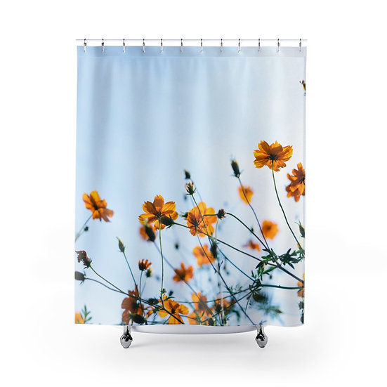 Wild Flowers Shower Curtains, Flower Fabric Liner, Floral Shower Curtain