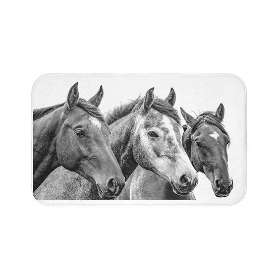 Wild Horses Bath Mat, Non Slip Bathroom Rug, Horse Lovers Gift