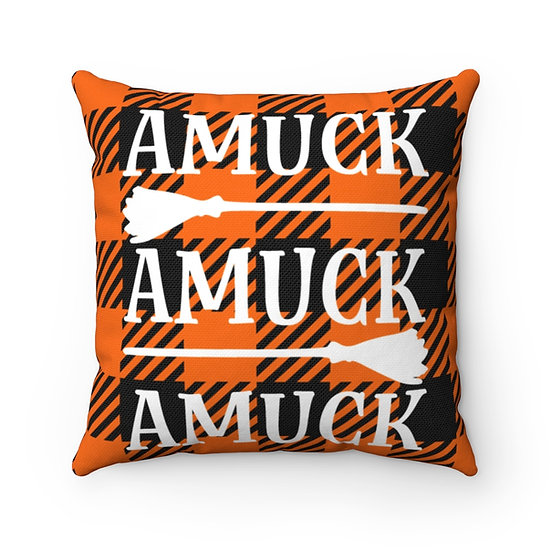 Amuck Halloween Decorative Pillow, Orange and Black Checkered Plaid Throw Pillow
