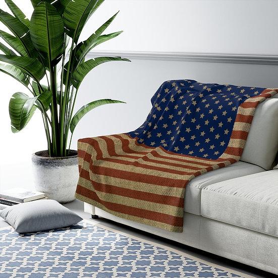 Blanket, Rustic American Flag Sherpa Fleece Blanket, Rustic USA Flag Throw