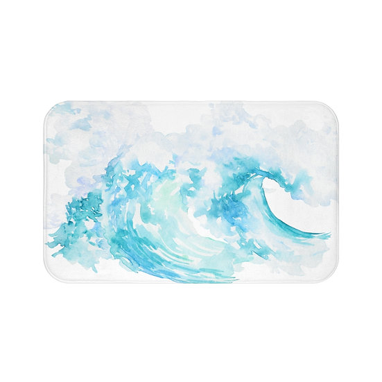 Watercolor Ocean Waves Bath Mat, Beach Non Slip Bathroom Rug