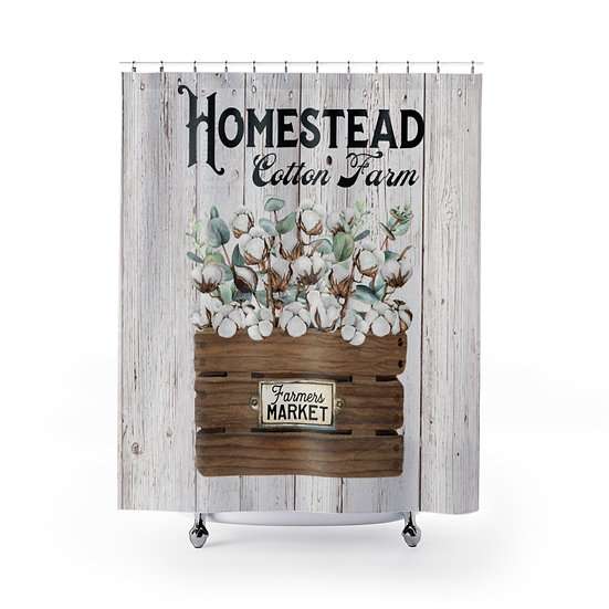 Shower Curtain, Farmhouse Shower Curtains, Country Cotton Fabric Liner