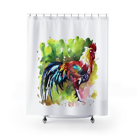 Watercolor Chicken Shower Curtain, Farmhouse Country Bathroom Decor