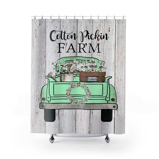 Farmhouse Shower Curtain, CottonTruck Fabric Liner