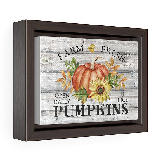 Canvas Print, Farmhouse Pumpkin Wall Hanging, Fall Wall Art, Horizontal Framed
