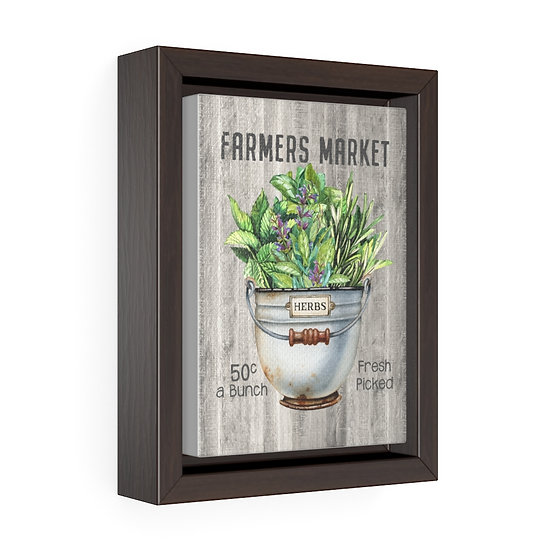 Canvas Print, Rustic Herbs Wall Hanging, Kitchen Wall Art, Vertical Framed