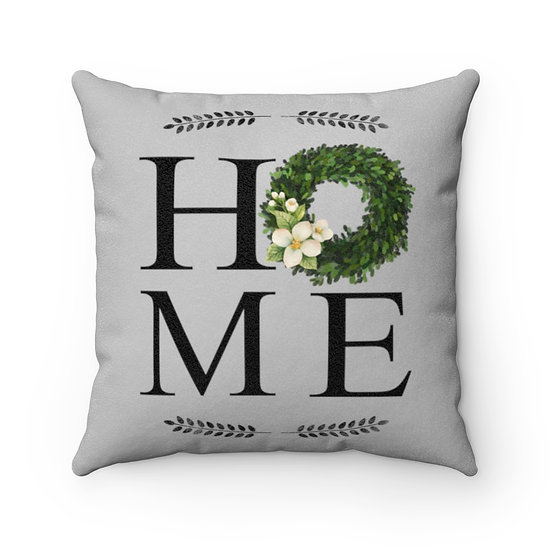 Farmhouse Pillow, Home Wreath, Grey Pillow with Cover