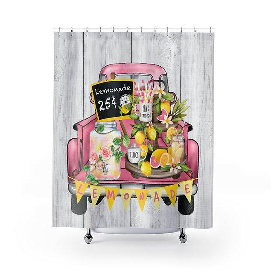 Shower Curtain, Pink Lemonade Truck Modern Farmhouse Designer Curtain