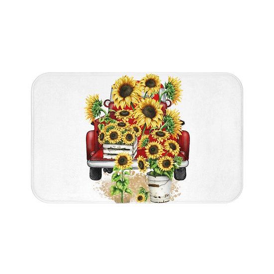 Bath Mat, Farmhouse Sunflower Truck  Bath Mat, Floral Bath Room Accessories