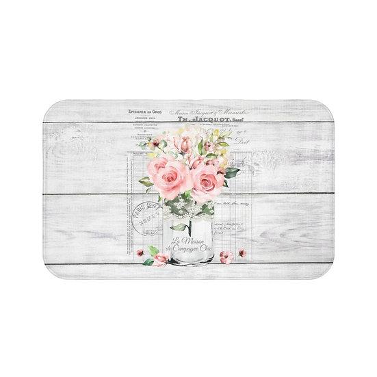 Bath Mat, Farmhouse Pink Roses Bath Mat, Shabby Chic Floral BathRoom Accessories
