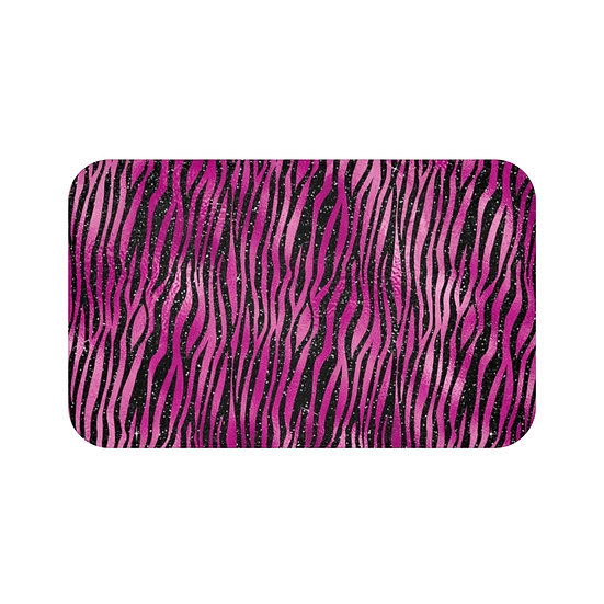 Hot Pink & Black Glam Fashion Bath Mat, Animal Print Fashionista Bath Mat