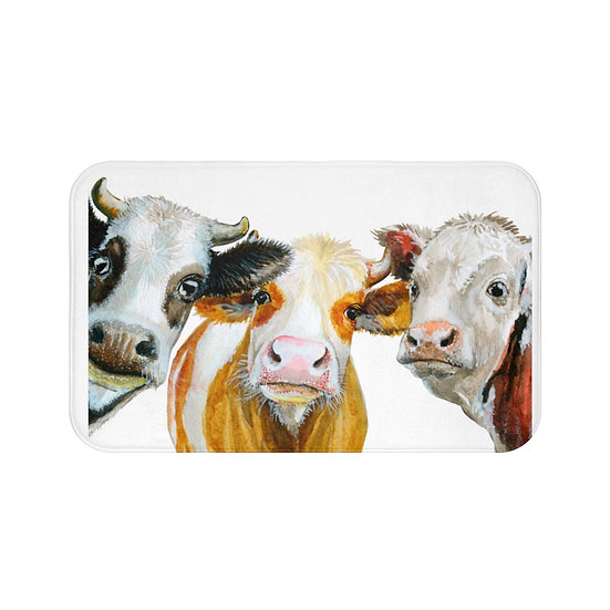 Watercolor Farmhouse Cow Bath Mat, Non Slip Bathroom Rug