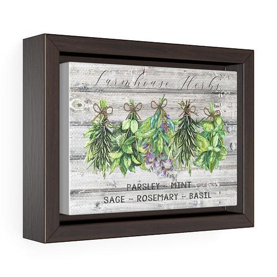 Canvas Print, Kitchen Farmhouse Herbs, Grey Rustic Wood Print, Horizontal Framed