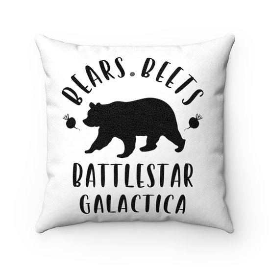 Bear Beets Battlestar Galactica, Office, Funny Pillow, Faux Suede Square Pillow