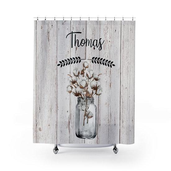 Personalized Last Name Shower Curtain, Mason Jar Cotton Shower Liner