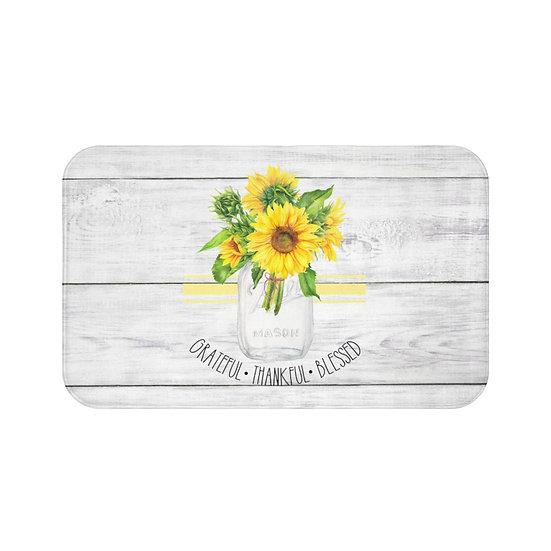Bath Mat, Farmhouse Grateful Sunflower Bath Mat, Floral Bath Room Accessories