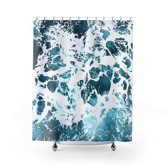Ocean Waves Shower Curtain, Aqua Blue Designer Curtain