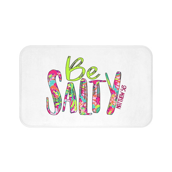 Be Salty Christian Farmhouse Bath Mat, Spiritual Quote Non Slip Bathroom Mat