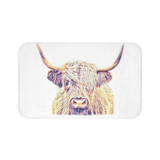 Bath Mat, Highland Cow Bath Mat, Non Slip Bathroom Rug, Cute Farmhouse Bath Mat