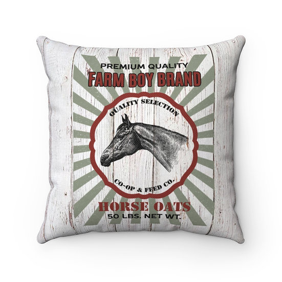 Pillow, Rustic Horse Feed Sack, Country Farmhouse Pillow