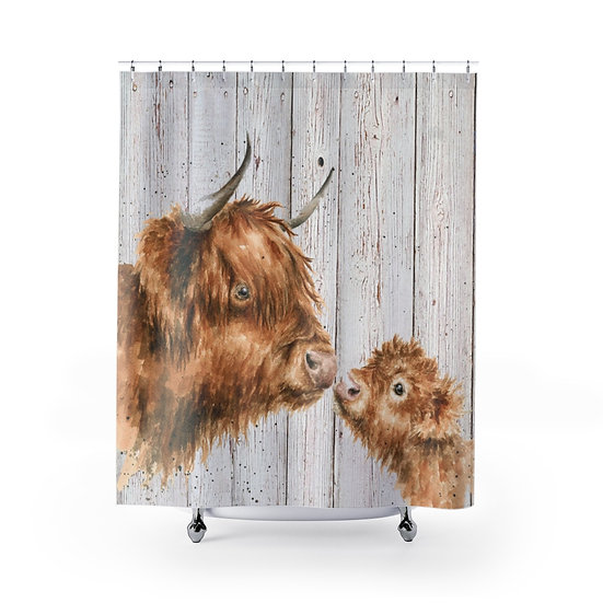 Shower Curtain, Watercolor Highland Cow and Calf, Cute Cow Fabric Liner