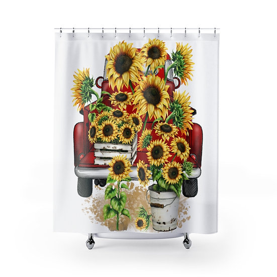 Farmhouse Black Sunflowers Truck Shower Curtains, Sunflower Fabric Liner, Cute
