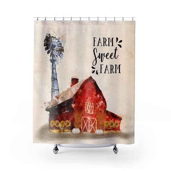 Watercolor Red Barn Shower Curtain, Country Western Bathroom Decor