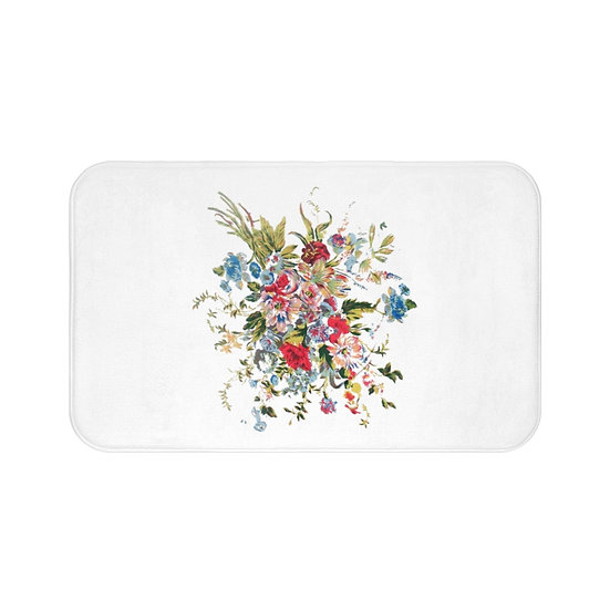 Floral White Bath Room Accessories, Rugs and Mats, Floral Bathroom Decor Mat