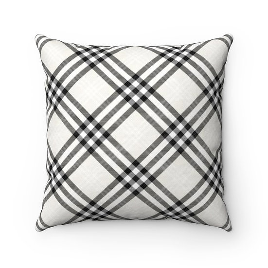 Black and White Gingham Plaid Throw Pillow