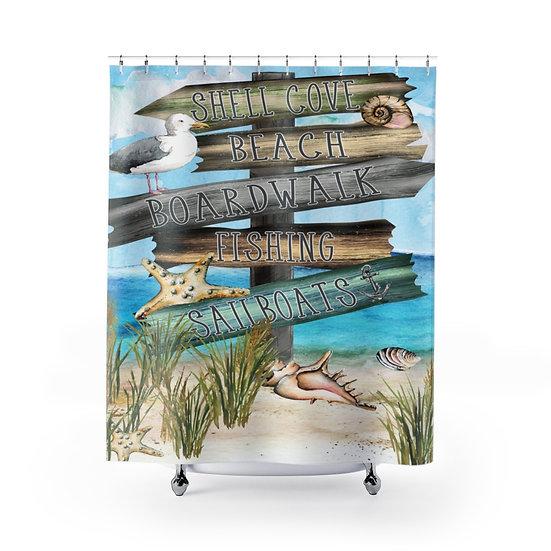 Shower Curtain, Sandy Beach Designer Curtain, Seaside Shower Curtain Liner