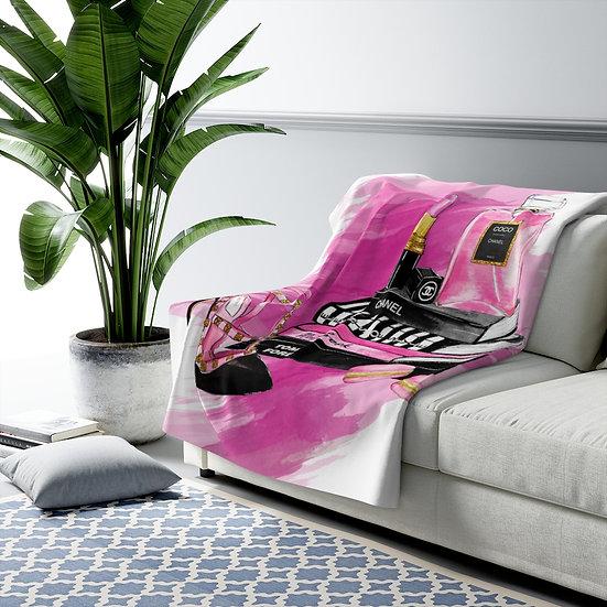 Blanket, Fashion Sherpa Fleece Blanket, Fashion, Books, Shoes, Pink, Make up