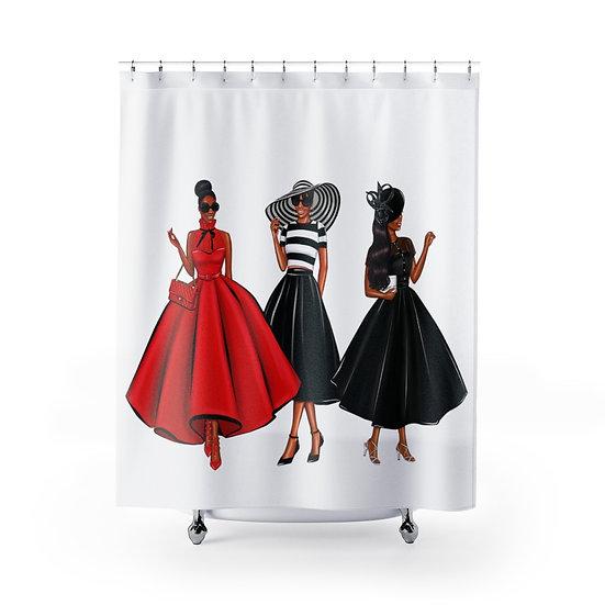 Shower Curtain, Fashion African American Woman, Fashionista Illustration
