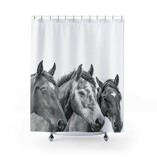 Wild Horses Shower Curtains, Black and White Horse Fabric Liner