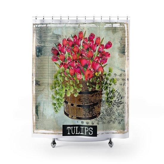 Floral Designer Curtain, Shower Liner, Bathroom Shower, Bathroom Decor