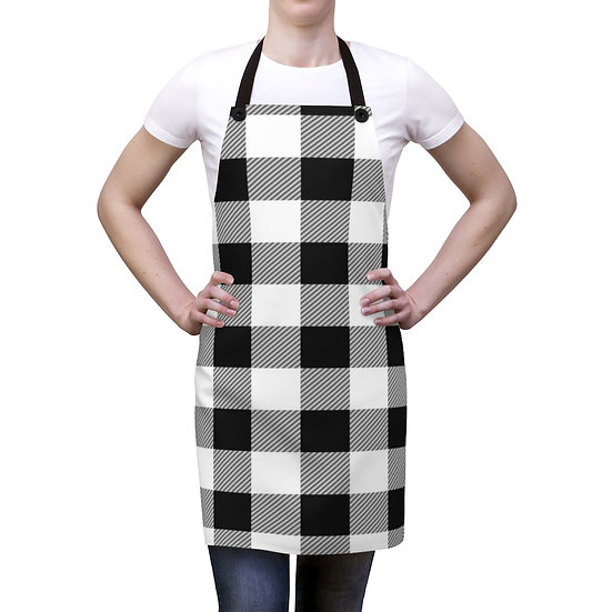 Black and White Plaid Apron