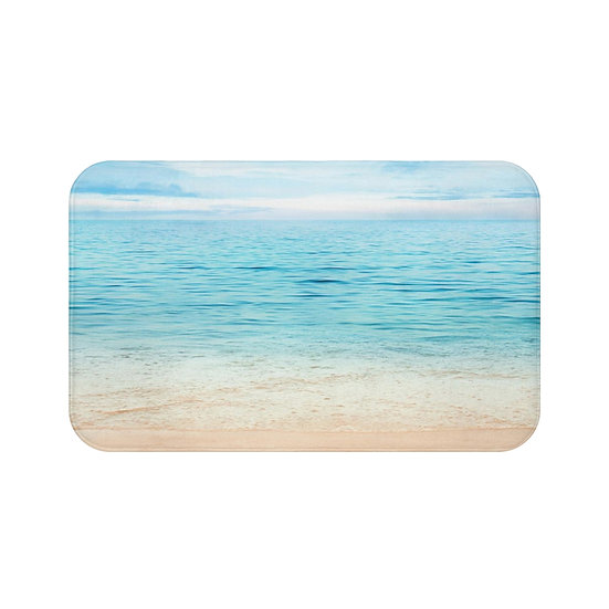 Ocean Bath Mat, Aqua Blue Beach Bathroom Accessories, Non Slip Mat