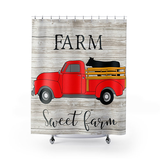 Shower Curtain Farmhouse Country Red Truck with Cow Fabric Liner