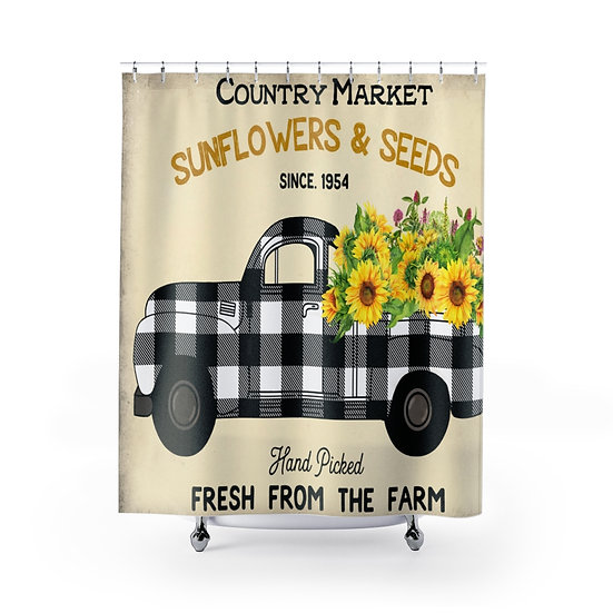 Farmhouse Black Plaid Truck Shower Curtains, Sunflower Fabric Liner