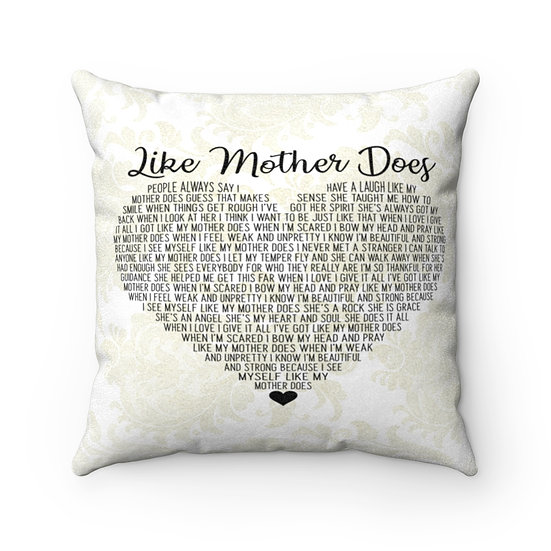 Song Lyric Print, Personalized Pillow, Like Mother Does Song Lyrics Pillow